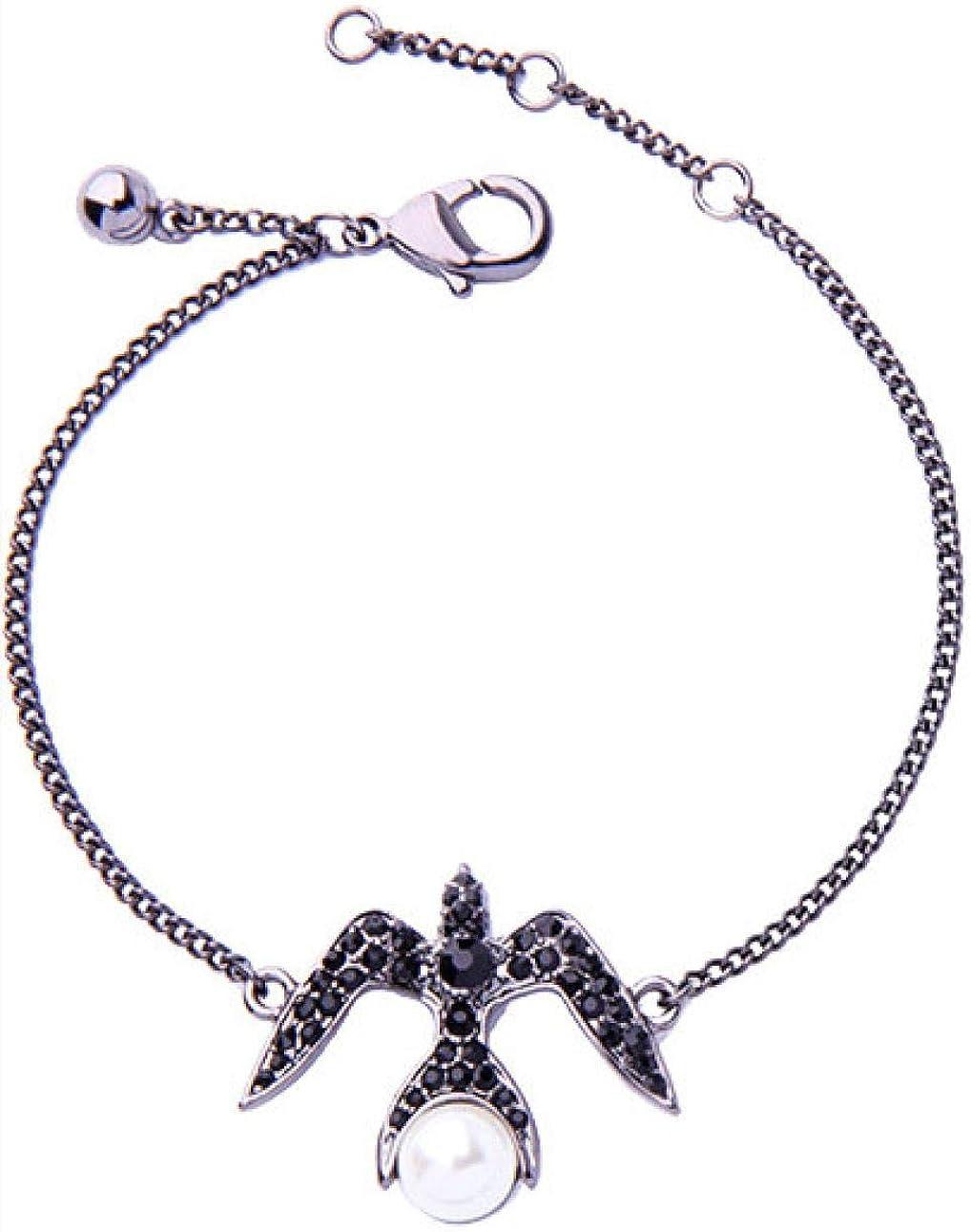 Pulsera femenina, aleación de diamante de cristal respetuoso con el medio ambiente, pulsera de golondrina pequeña, perla con diamantes incrustados, pulsera con incrustaciones de mujer, 21,9 cm