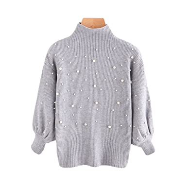 Pearl Beading Mock Neck Balloon Sleeve Jumper Women Grey Turtleneck 3 4  Sleeve Pullovers Sweater Gray One Size at Amazon Women s Clothing store  8e0aa4834