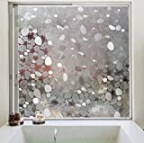 Coavas Non-adhesive 3d Static Pebbles Decorative Translucent Window Film for Home and Office, Avoid Glass Burst,35.5-by-78.7-inch
