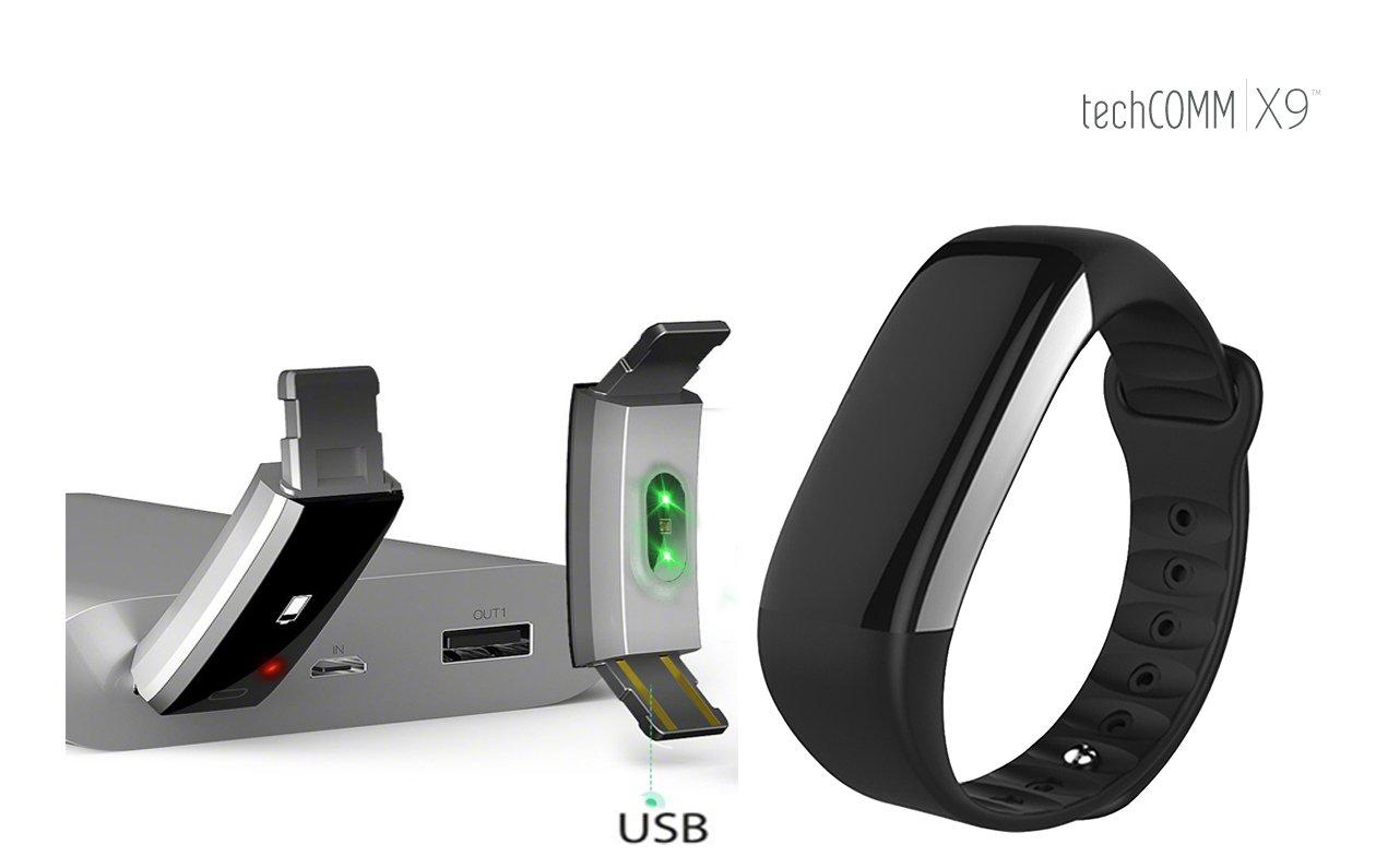 TechComm X9 Smart Band Fitness Tracker Heart Rate Blood Oxygen Monitor