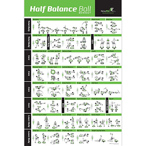 """NewMe Fitness Half Balance Ball Workout Poster, Laminated :: Illustrated Guide with 40 Toning and Strengthening Exercises :: Hang in Your Home or Gym, for Men & Women, 20"""" x 30'' by NewMe Fitness"""