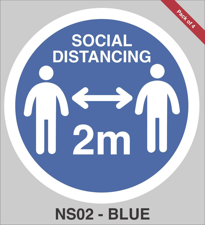 pack of 4 Social Distancing Floor Stickers