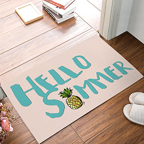 - Welcome Doormats Front Door Mat Hello Summer Pineapple Waterproof Shoes Scraper Entryway Rug for Indoor Kitchen Floor Bathroom Patio Porch Home Decor Rubber Non Slip 20 x 31.5inch