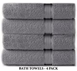 Baby : Cotton Craft Ultra Soft 4 Pack Oversized Extra Large Bath Towels 30x54 Charcoal weighs 22 Ounces - 100% Pure Ringspun Cotton - Luxurious Rayon trim - Ideal for everyday use - Easy care machine wash