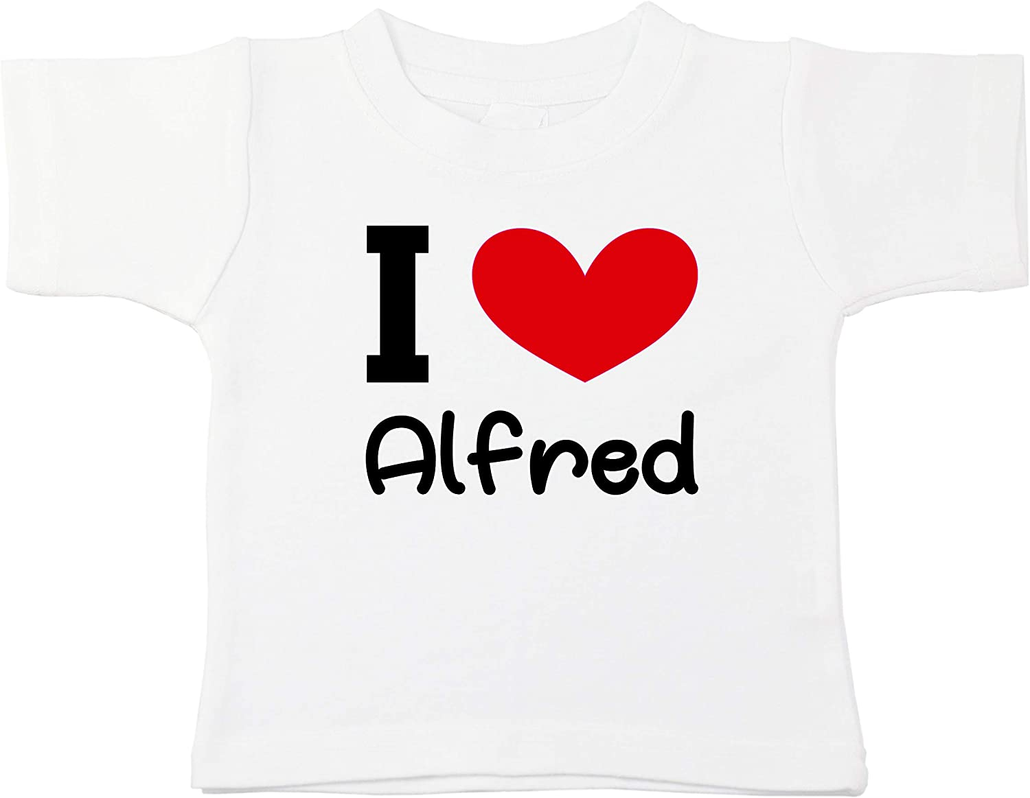 Kinacle I Love Alfred Personalized Baby//Toddler T-Shirt