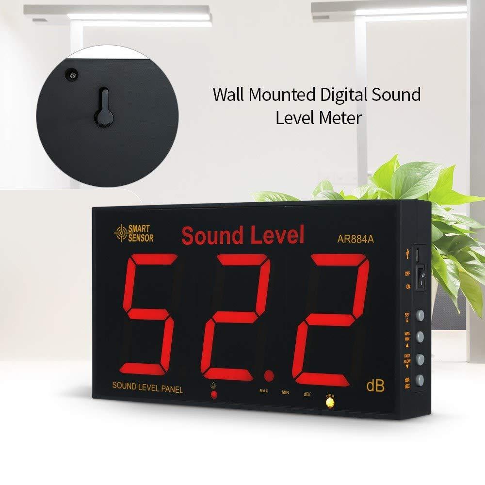 Konnon Sound Level Meter with Large LCD Screen Wall Mounted Digital Sound Level Meter Digital Noisemeter Decibel Monitoring Tester Noise Volume Measuring Instrument 30-130dB Measuring Range by Konnon