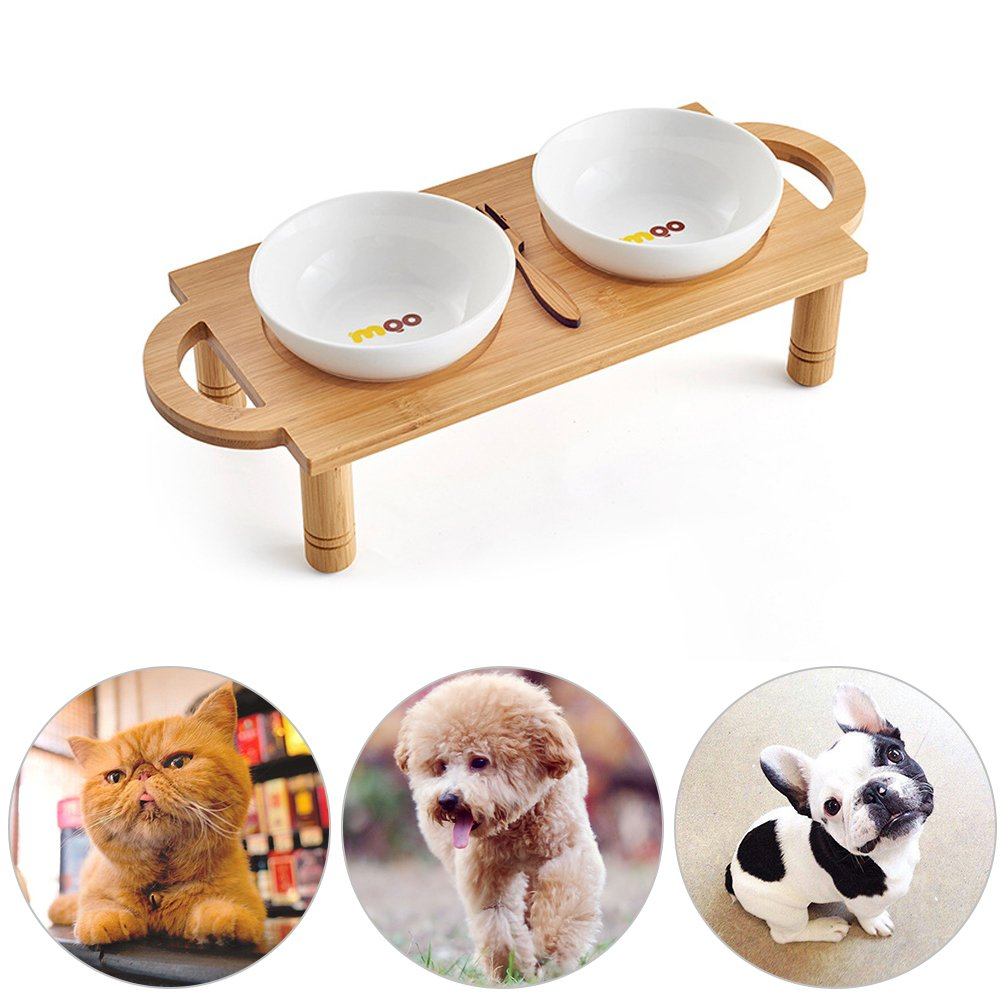 Petacc Double Dog Bowl Elevated Pet Bowls Ceramic Cat Water Bowl with Wooden Stand, Suitable for Cats and Small Dogs, Easy to Wash