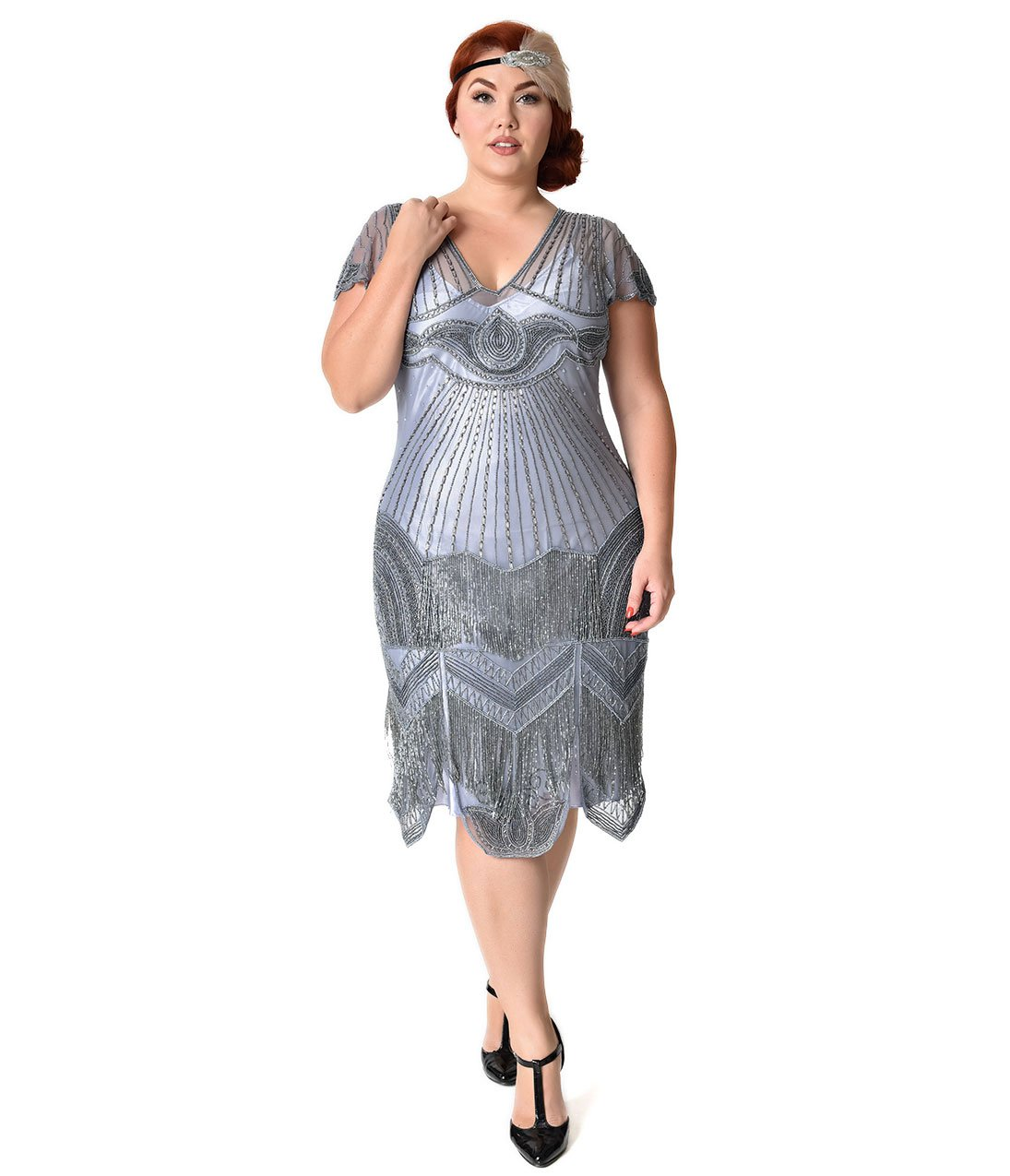 1920s Style Plus Size Lilac Beaded Deco Cap Sleeve Beatrice Flapper Dress