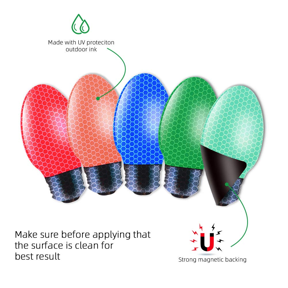 12 Pack Reflective Car Christmas Lights Bulb Shaped Holiday Car Decoration Magnet Set in A Variety of Colors for Outdoor Refrigerators or Mailboxes ZHSX Automotive Christmas Lights Magnet Set