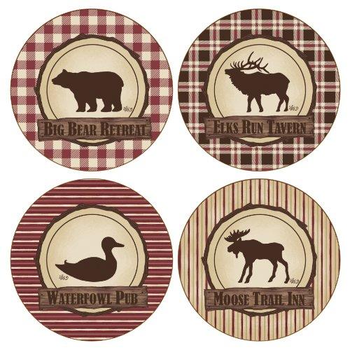CoasterStone AS9025 Absorbent Coasters, 4-1/4-Inch, Bear Elk Duck Moose Hunter's Retreat, Set of 4 (Coaster Moose Set)