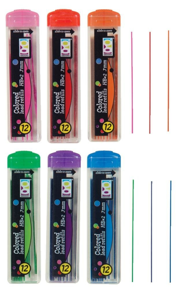 24 Pack 69768 Geddes Colored Pencil Lead Refills 0.7mm