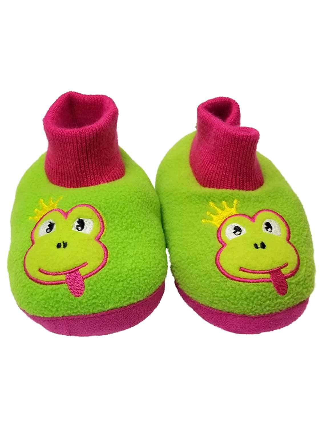 Toddler Girls Green Frog Pink Slippers Loafer House Shoes Animal Slippers