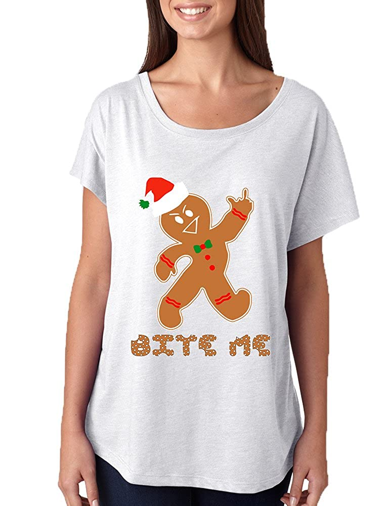 Allntrends Women's Dolman Shirt Bite Me Gingerbread Ugly Christmas Funny