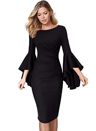 cfeca8670a VFSHOW Womens Black Ruffle Bell Sleeves Slim Ruched Business Cocktail Party  Sheath Dress 2333 BLK XS
