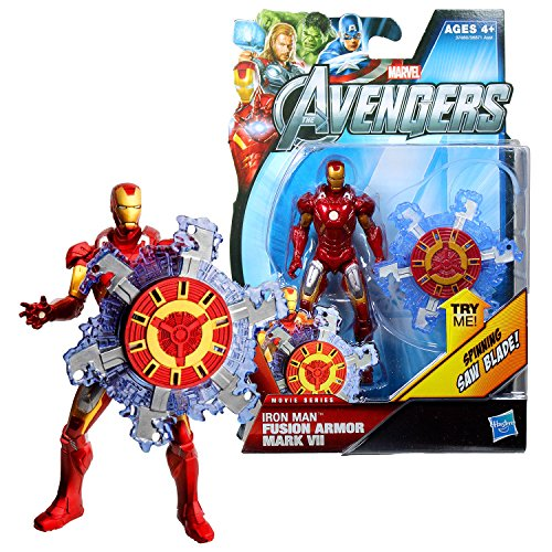 The Avengers Marvel Year 2011 Movie Series 4 Inch Tall Figure #11 - Fusion Armor Mark VII IRON MAN with Spinning Saw Blade