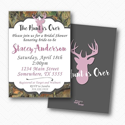 the hunt is over deer camo bridal shower invitations envelopes included