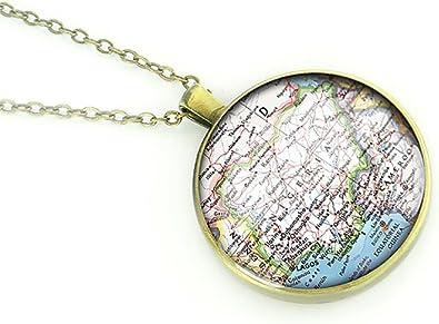 Handmade Nigeria Map Necklace Map Jewelry Best Birthday Gift Ideas Girlfriend Amazon Co Uk Jewellery