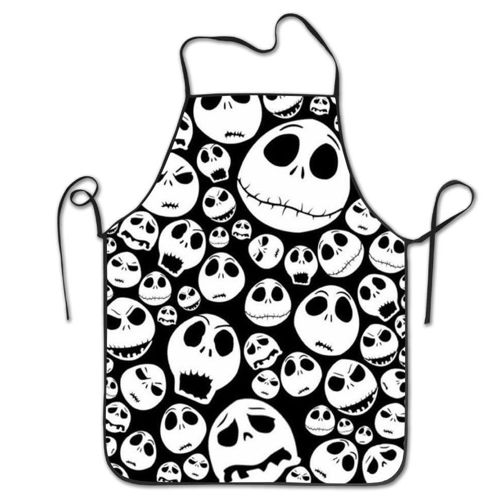 Halloween Skull Lock Edge Waterproof Durable String Adjustable Easy Care Cooking Apron Kitchen Apron For Women Men Chef   B074QPGHG5