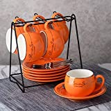 NDHT Set of 6 Bone China Teacups/Coffee Cups & Saucers Sets with Spoons-6.7Oz, for Home, Restaurants, Display for Family or Friends,Orange,with a bracket(6 Sets)