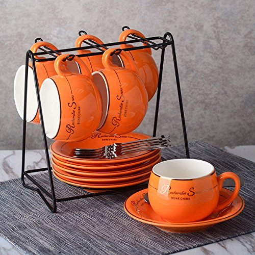 NDHT Set of 6 Bone China Teacups/Coffee Cups & Saucers Sets with Spoons-6.7Oz, for Home, Restaurants, Display for Family or Friends,Orange,with a bracket(6 Sets) by NDHT