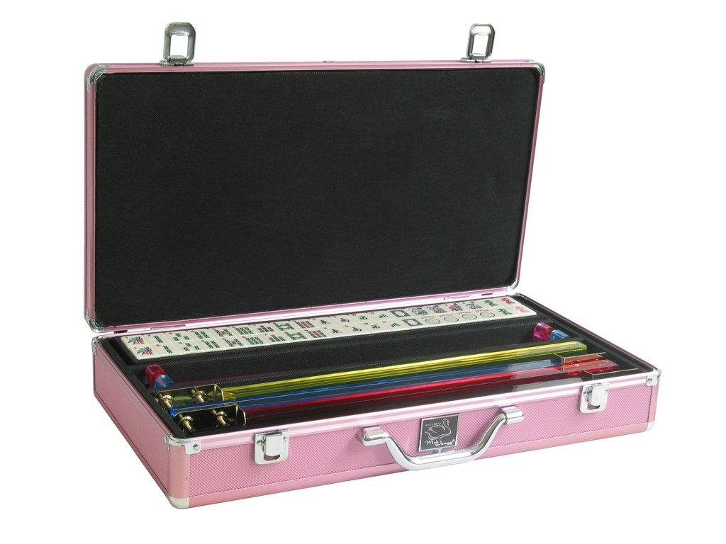 White Swan Mah Jongg (TM) - Ivory Tiles - Pusher Arms - Aluminum Case - Pink