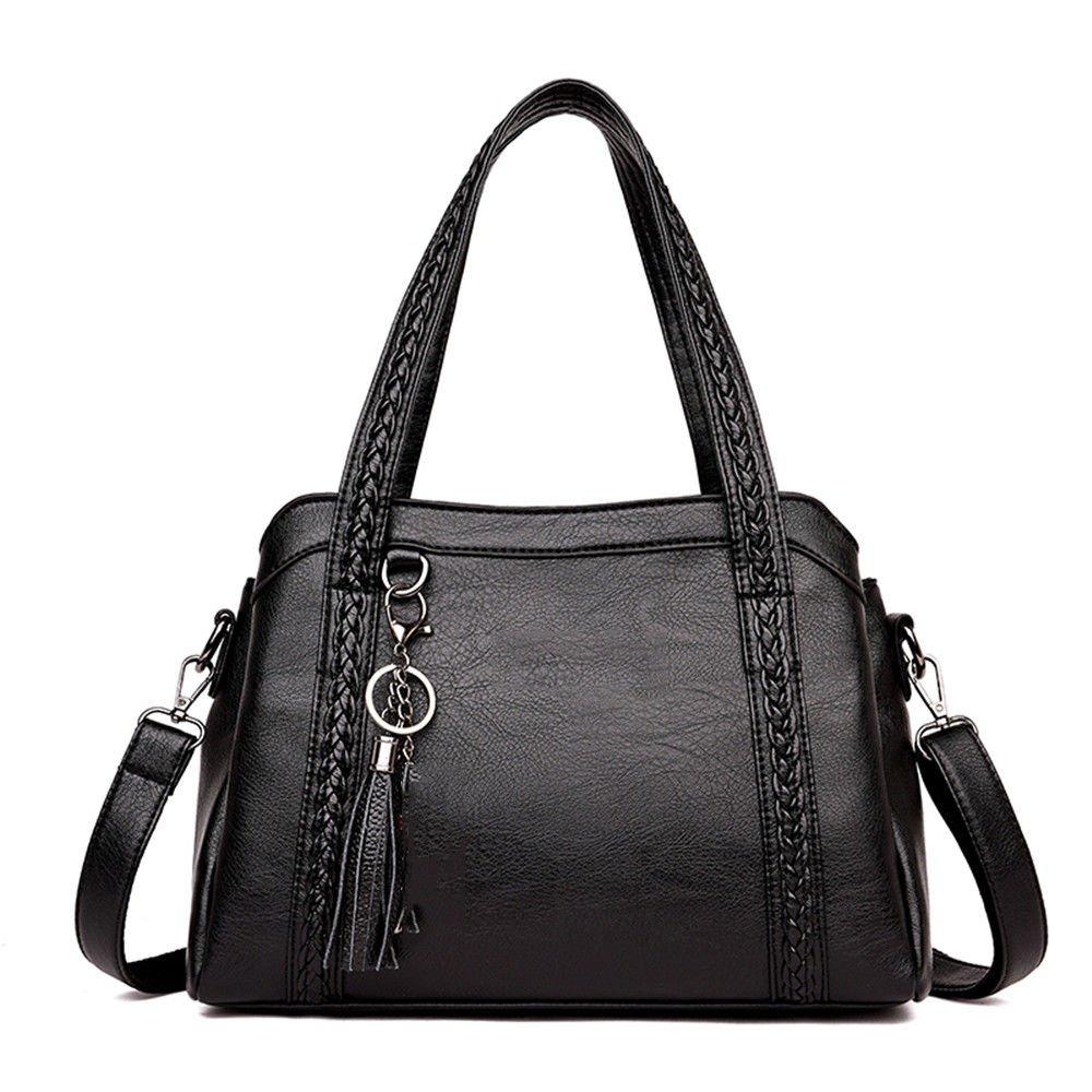 Soft Leather Bag In The Elderly Large Bag Single Shoulder Bag,Black,30X21X11Cm