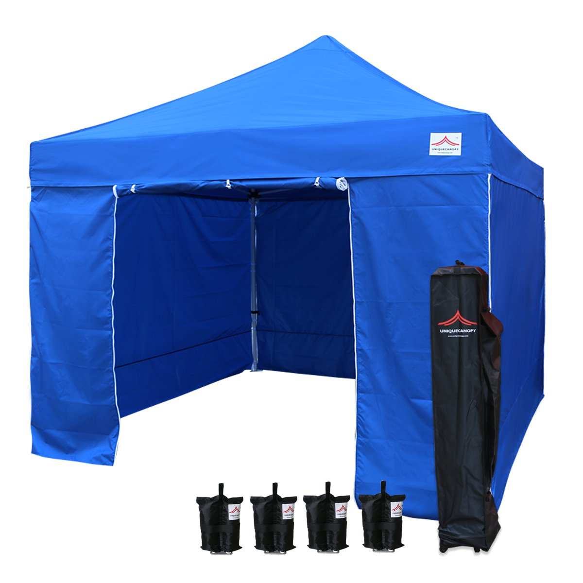 UNIQUECANOPY 10x10 Ez Pop up Canopy Tents for Parties Outdoor Portable Instant Folded Commercial Popup Shelter, with 4 Zippered Side Walls and Wheeled Carrying Bag Bonus 4 Sandbags Blue