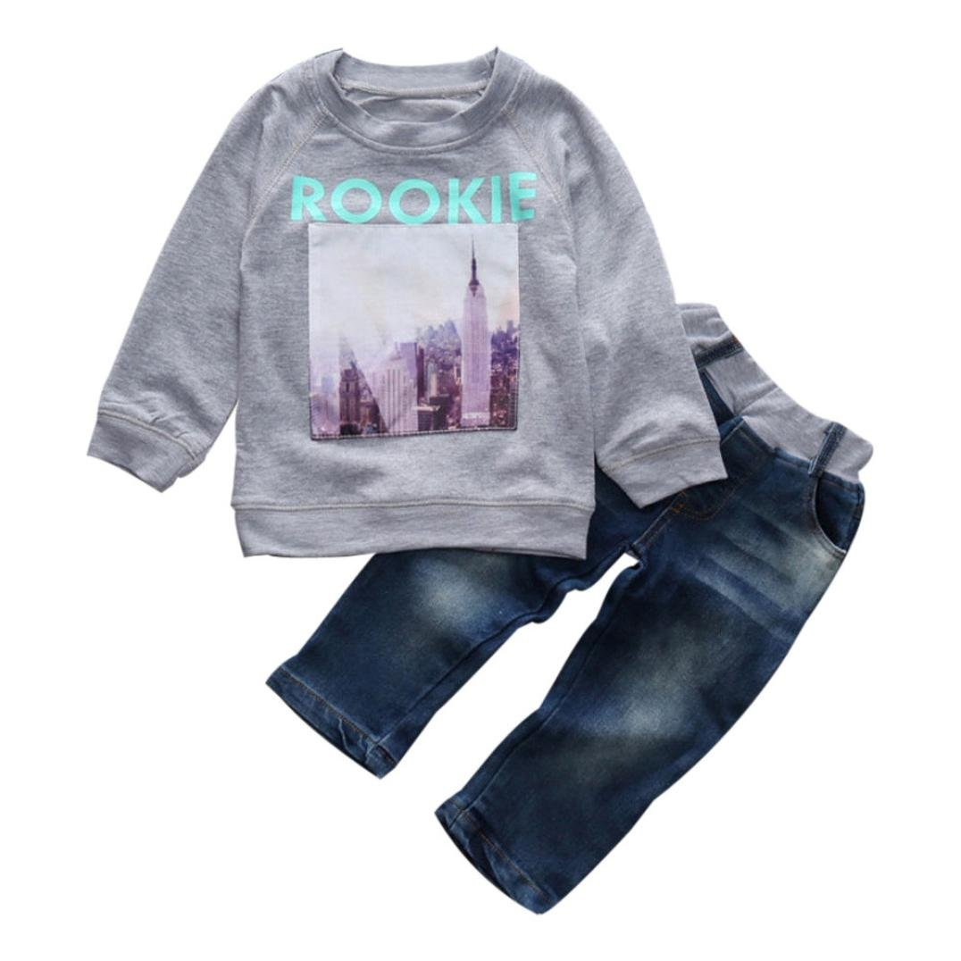 For 2-7 years old boys,Clode® 1Set Toddler Baby Boy Girl Long Sleeve Round Neck T-Shirt+Denim Pants Kids Clothes Outfits Clode-Boys Clothing -T02