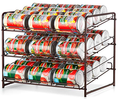 Bextsware Stackable Can Rack, 3 Tier Cabinet Basket Organizer,Bronze (Can Organizer For Pantry)