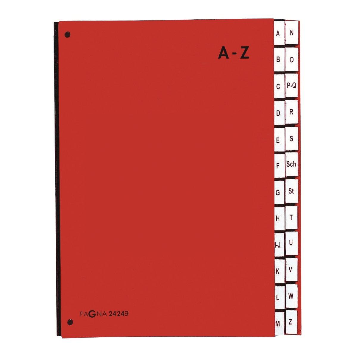 Pagna 24249-02 - Carpeta clasificadora (cartón, 24 separadores, letras A-Z, 3 agujeros), color azul: Amazon.es: Oficina y papelería