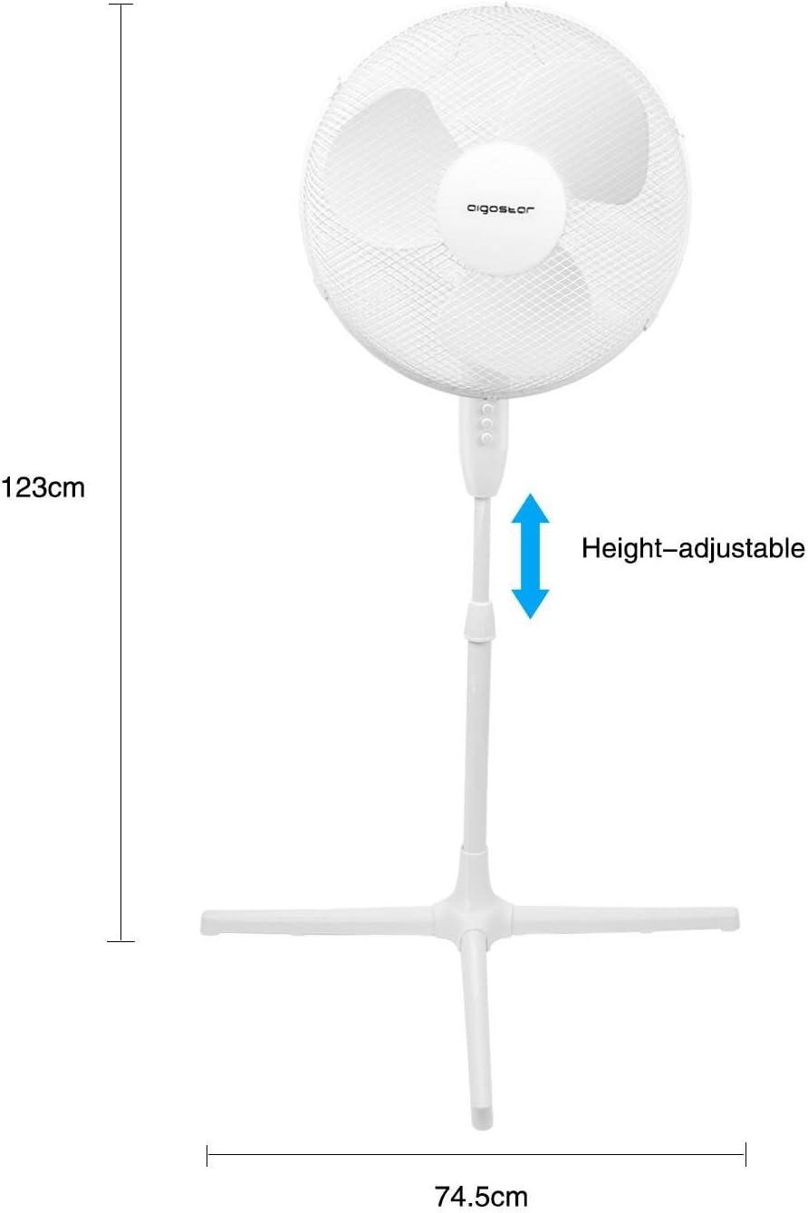 Aigostar Daisy 33LPT Enchufe/brit/ánico/de/3/pines 3 velocidades di/ámetro 45 cm Ventilador de pie oscilante 40W