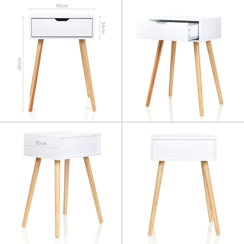40 x 30 x 60 cm Bianco Gambe in Legno Legno Colore: Bianco Comodino Tjark con cassetto 40x30x60 cm Furniture For Friends