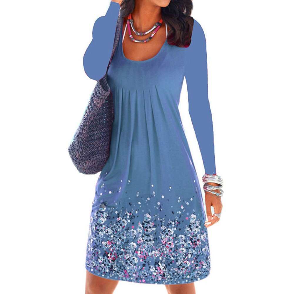 Winsummer Womens Casual Loose Plain Dresses Vintage Floral Printed T-Shirts Dress Plus Size Blue