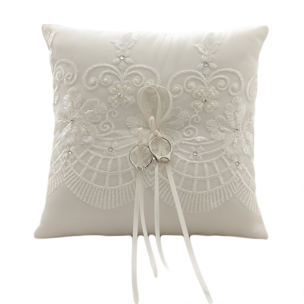 Lace Pearl Embroided Satin Flower Wedding Ring Bearer Pillow 7.8 Inch x 7.8 Inch (Ivory Pearl)