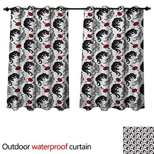 (Romantic Outdoor Curtain for Patio Wild Cats Passion Theme Lovers Valentines Rose Petals Arrows Eros W55 x L45(140cm x 115cm))