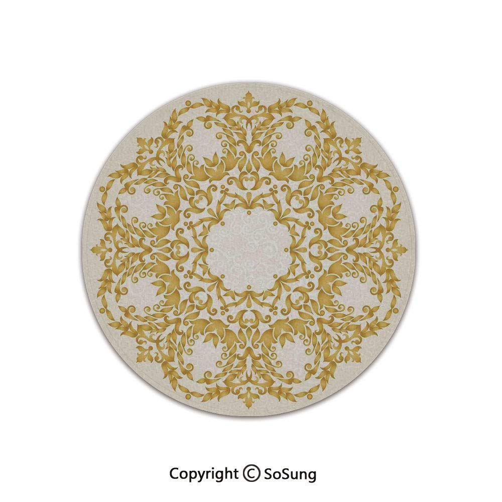 Victorian Decor Round Area Rug,Traditional Gold Floral Round Circle with Baroque Elements Turkish Ottoman Style Art,for Living Room Bedroom Dining Room,Round 3'x 3',Cream by SoSung