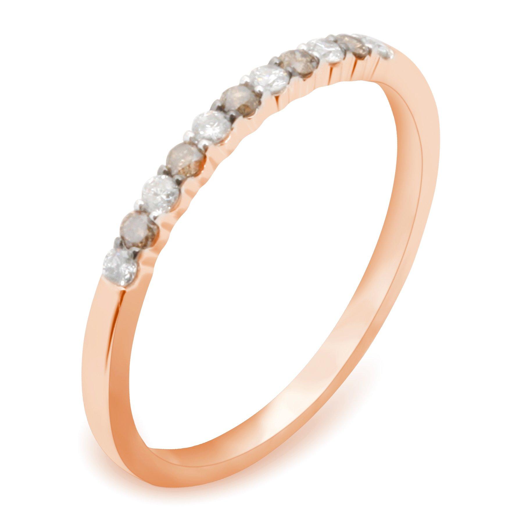 Prism Jewel Round Natural Brown & White Diamond Wedding Band, 10k Rose Gold, Size 10