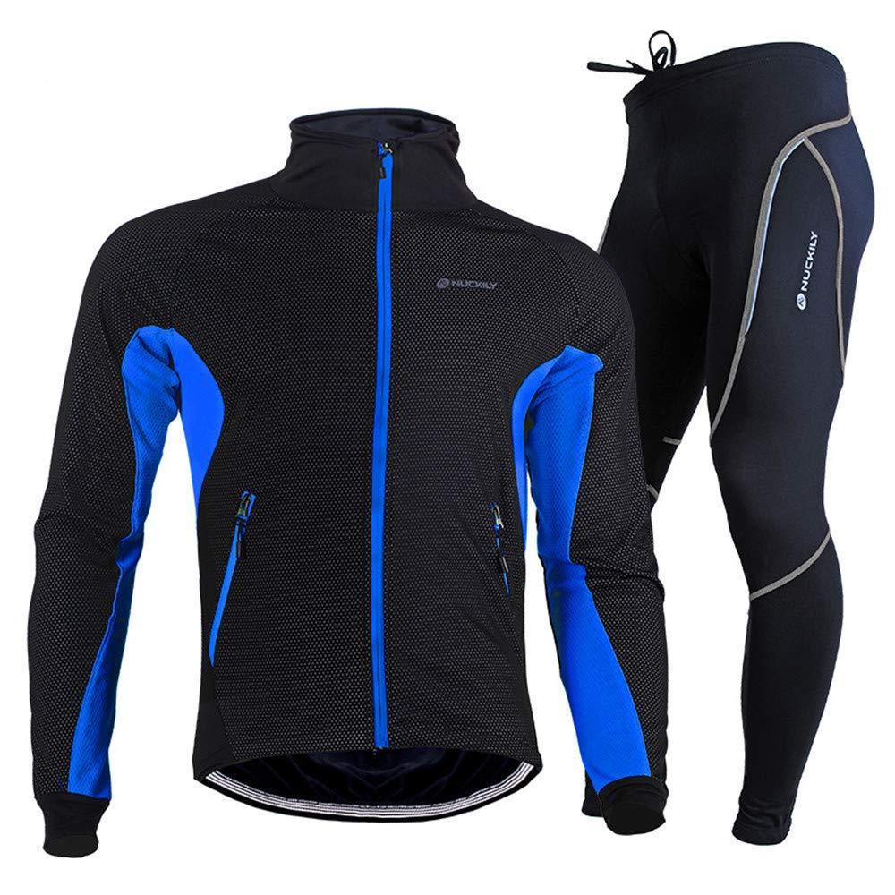 Cycling Clothing Set メンズジャケットウィンターウォータープルーフサーマル通気性のサイクリングウェアセットライディング長袖スポーツウェア+パッド入りパンツズボン アウトドアロングスリーブジャージー+パンツ (Color : Blue, Size : XL) X-Large Blue B07L5B6VRW