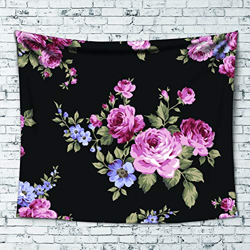 Uphome Rose Tepestry, Fairy Pink Purple Flower Printed with Leaves on Black Hippe Wall Hanging Light-Weight Polyester Decor for Home Living Room Dorm, 60''W x 80''L]()