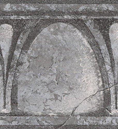 Abstract Black Semi Circles Vintage Wallpaper Border Retro Design, Roll 15' x 4.25''