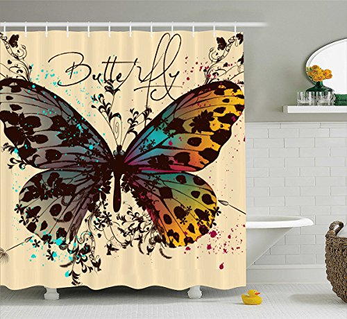 Manerly Fashion illustration with butterflies Shower Curtains,Polyester Fabric Waterproof Bathroom Curtain Set with Hooks 72 X 72 inch -
