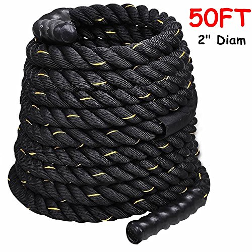 2'' Poly Dacron 50ft/Black Battle Rope Workout Strength Training Undulation TKT-11 by TKT-11