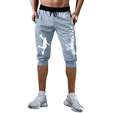 6d846fe97c9078 Mens Shorts Jordan 23 Jogger Knee Length Sweatpants Man Fitness Drawstring  Short at Amazon Men s Clothing store
