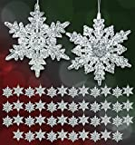 Acrylic Iridescent Snowflake Christmas Ornaments - Set of 48 Assorted Styles of Snowflakes - Clear Acrylic with Glitter - Winter Snowflake Decorations