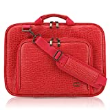 CaseCrown Alligator Messenger Laptop Case with Memory Foam for 13 Inch MacBook Pro/Air (Red)