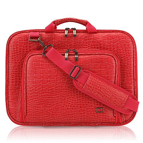 13 Inch MacBook Pro / Air CaseCrown Alligator Messenger Laptop Case with Memory Foam (Red)