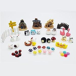 Fairy Garden Accessories 50 Pieces, Miniatures for Fairy Garden Fairy Garden Kit, Fairy Garden Animals, Miniature Figurines, Micro Landscape Ornaments Kit, Garden DIY Kit, Environmental Resin