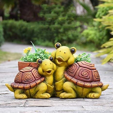 Figura Decorativa para jardín Tortuga Caracol Exterior Tiesto En ...