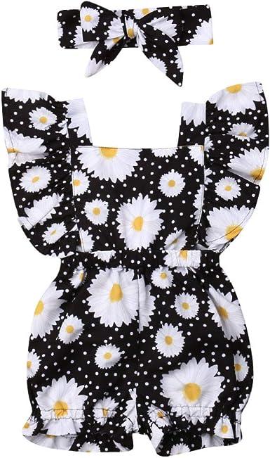Newborn Infant Baby Girl Floral Romper Bodysuit Jumpsuit Playsuit Sleeveless