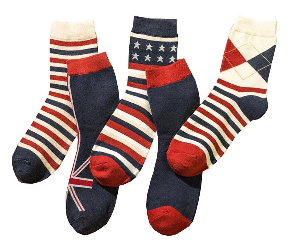 5 Paar Herren-Socken - Rote und blaue Streifensocken für Männer Black Temptation